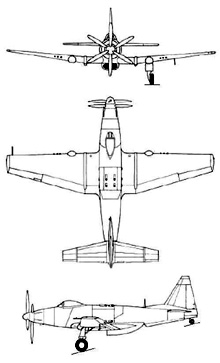 Plan 3 vues du Fisher P-75 Eagle