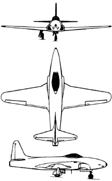 Plan 3 vues du Lockheed P-80 Shooting Star