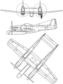 Plan 3 vues du North American P-82 Twin Mustang