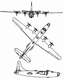 Plan 3 vues du Consolidated PB4Y Privateer