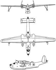 Plan 3 vues du Martin PBM Mariner