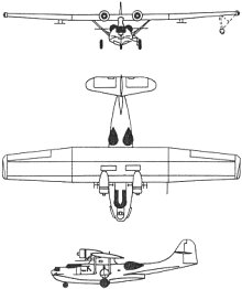 Plan 3 vues du Consolidated PBY Catalina