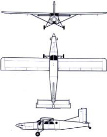 Plan 3 vues du Pilatus PC-6 Porter/Turbo-Porter