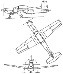 Plan 3 vues du Pilatus PC-7 Turbo Trainer