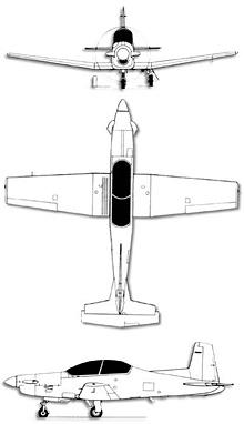 Plan 3 vues du Pilatus PC-9