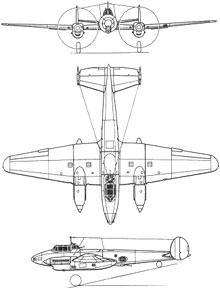 Plan 3 vues du Petlyakov Pe-2