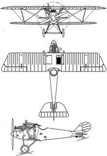 Plan 3 vues du Pfalz D.III