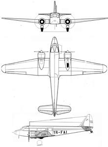 Plan 3 vues du Potez 56/560