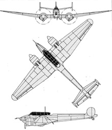 Plan 3 vues du Potez 630/631