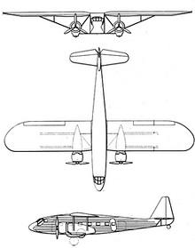 Plan 3 vues du Potez 65/650