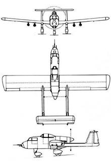 Plan 3 vues du Potez 75