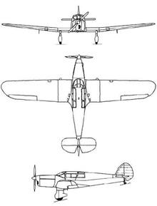 Plan 3 vues du Percival P-28 Proctor