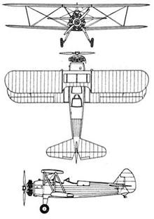Plan 3 vues du Boeing-Stearman PT-17/N2S