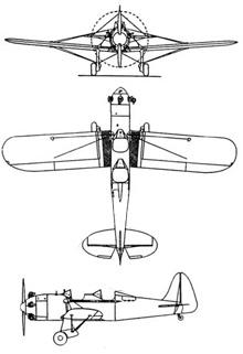 Plan 3 vues du Ryan PT16/PT-22 Recruit