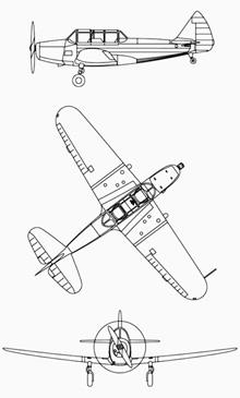Plan 3 vues du Fairchild PT-19/23/26 Cornell