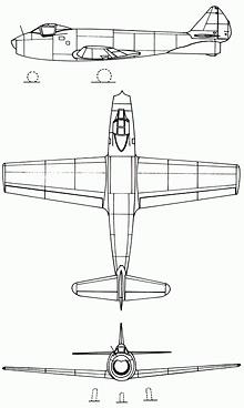 Plan 3 vues du FMA I.Ae. 27 Pulqui I