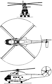 Plan 3 vues du Aérospatiale SA.330 Puma