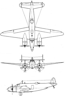 Plan 3 vues du Lockheed PV Harpoon / Ventura