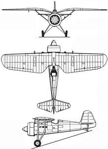 Plan 3 vues du P.Z.L. P.11