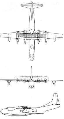 Plan 3 vues du Convair R3Y Tradewind