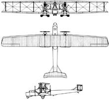 Plan 3 vues du Zeppelin-Staaken R.VI