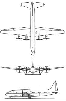 Plan 3 vues du Lockheed R6V Constitution