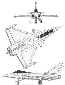Plan 3 vues du Dassault Aviation  Rafale