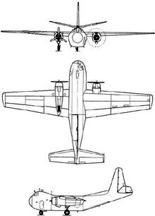 Plan 3 vues du Budd RB-1 Conestoga