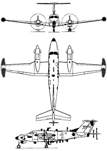 Plan 3 vues du Beechcraft RC-12 Guardrail / MC-12 Liberty