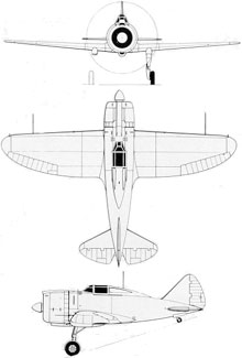 Plan 3 vues du Reggiane Re.2000 Falco