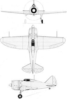 Plan 3 vues du Reggiane Re.2000 Falco