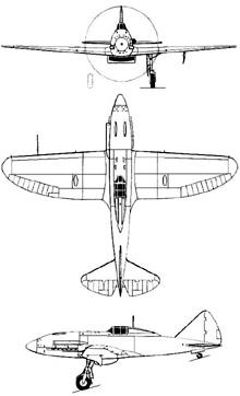 Plan 3 vues du Reggiane Re.2005 Sagittario