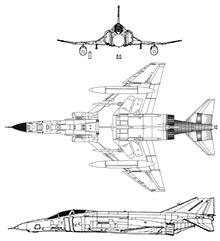 Plan 3 vues du McDonnell RF-4 Phantom II