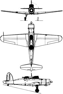 Plan 3 vues du Blackburn B-25 Roc