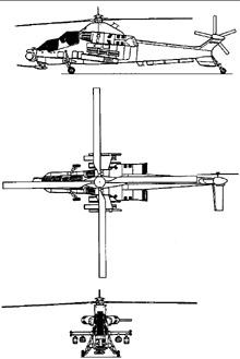 Plan 3 vues du Denel AH-2 Rooivalk