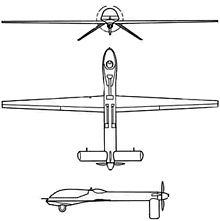Plan 3 vues du General Atomics RQ-1/MQ-1 Predator