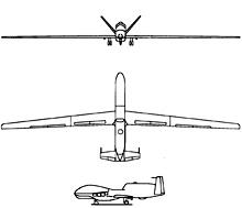 Plan 3 vues du Northrop Grumman RQ-4 Global Hawk
