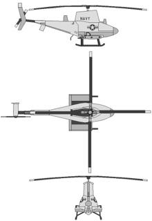 Plan 3 vues du Northrop Grumman RQ-8/MQ-8 Fire Scout