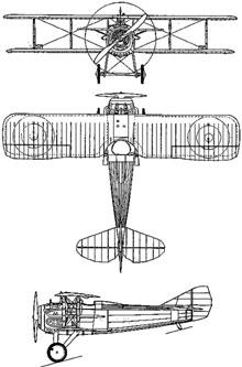 Plan 3 vues du SPAD S.XIII