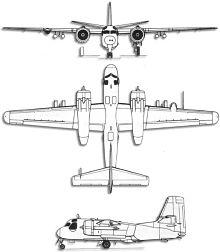 Plan 3 vues du Grumman S-2 Trader/Tracker