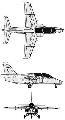 Plan 3 vues du SIAI-Marchetti S.211