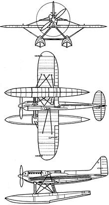 Plan 3 vues du Supermarine S.6