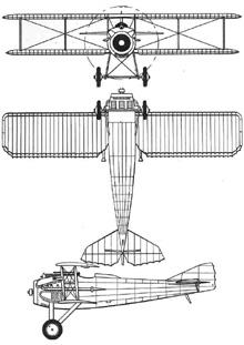 Plan 3 vues du SPAD S.VII