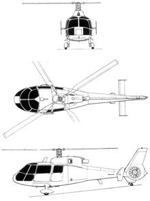 Plan 3 vues du Aérospatiale SA.360 Dauphin