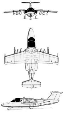 Plan 3 vues du Saab 105 / SK 60