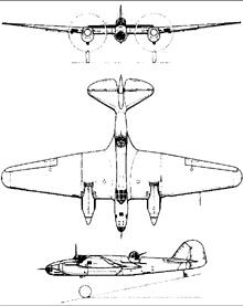 Plan 3 vues du Tupolev SB-2