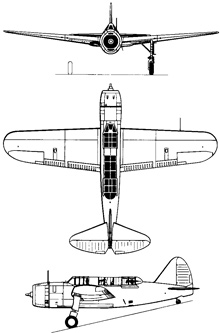 Plan 3 vues du Brewster SB2A Buccaneer