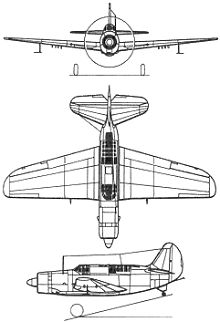 Plan 3 vues du Curtiss SB2C Helldiver