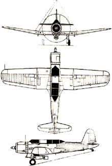 Plan 3 vues du Vought SB2U Vindicator