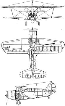 Plan 3 vues du Curtiss SBC Helldiver